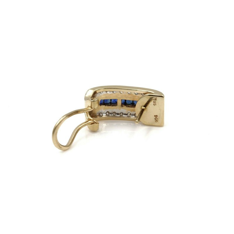 National Rarities 14K YELLOW GOLD 1.08 CTW SQUARE SAPPHIRE ROUND DIAMOND OMEGA EARRINGS #E-188
