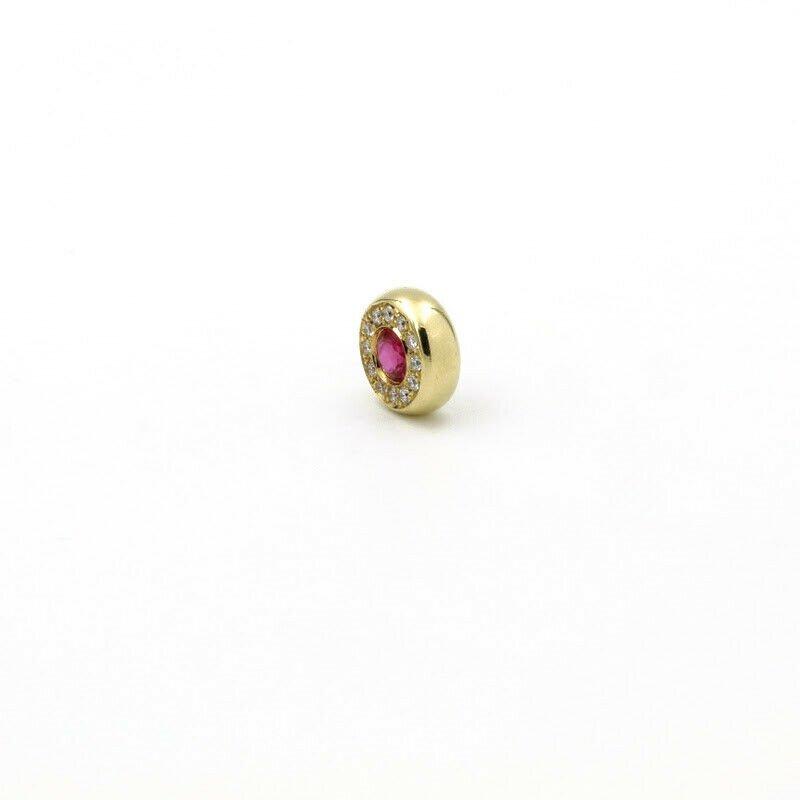 National Rarities 18K GOLD .48 CTW ROUND RUBY & DIAMOND HALO 18.5 MM HIDDEN BAIL PENDANT #956B-7