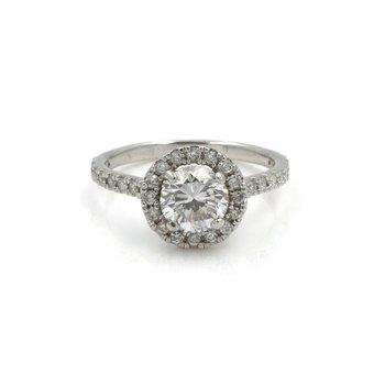 14K WHITE GOLD 1.46 CTW ROUND DIAMOND HALO ENGAGEMENT RING SIZE 5.25 #1104B-7