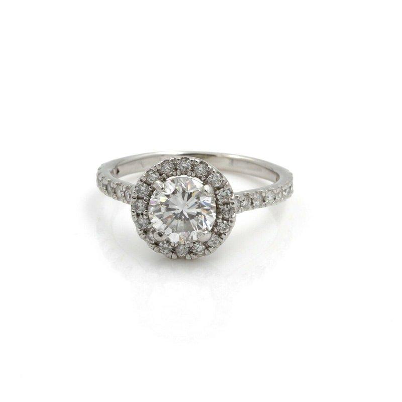 National Rarities 14K WHITE GOLD 1.46 CTW ROUND DIAMOND HALO ENGAGEMENT RING SIZE 5.25 #1104B-7