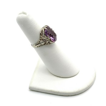 ART DECO AMETHYST RING 18K WHITE GOLD ANTIQUE CUSHION CUT FILIGREE SIZE 4.75