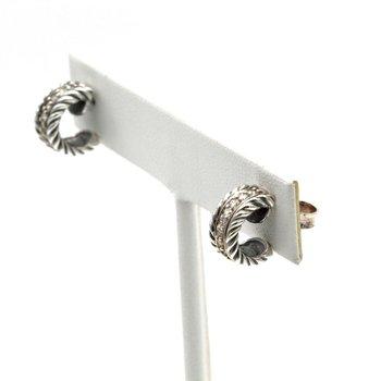 DAVID YURMAN PETITE DIAMOND PAVE HOOP EARRINGS 0.20 CTW STERLING ROUND D100-8