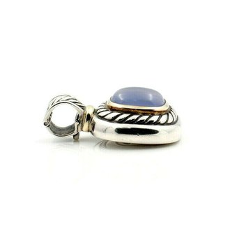 DAVID YURMAN STERLING SILVER & 14K GOLD CHALCEDONY CABLE PENDANT #D20-2