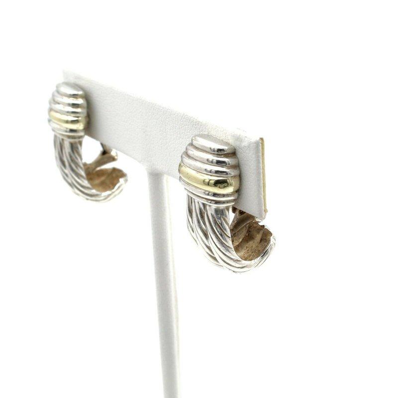 David Yurman DAVID YURMAN STERLING SILVER 14K YELLOW GOLD J HOOP CABLE CLIP-ON EARRINGS D8-10