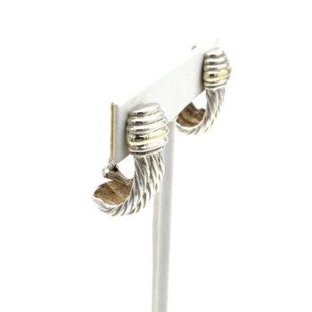 DAVID YURMAN STERLING SILVER 14K YELLOW GOLD J HOOP CABLE CLIP-ON EARRINGS D8-10