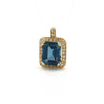 14K YELLOW GOLD LONDON BLUE TOPAZ EMERALD CUT PENDANT W/ DIAMOND ACCENTS 1034B-2