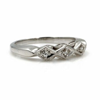 14K WHITE GOLD.09 CTW ROUND SINGLE CUT DIAMOND GEOMETRIC DAINTY BAND #E156