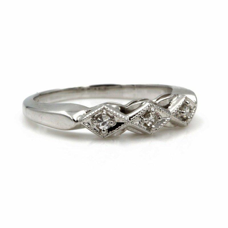 National Rarities 14K WHITE GOLD.09 CTW ROUND SINGLE CUT DIAMOND GEOMETRIC DAINTY BAND #E156