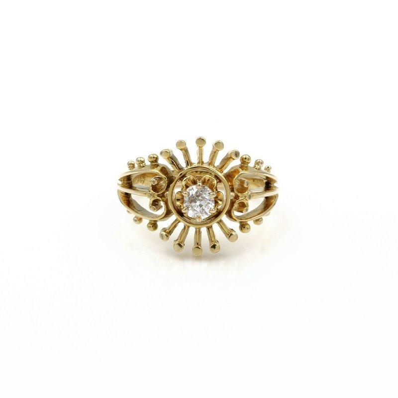 National Rarities VINTAGE 14K GOLD .23CT OLD MIINE DIAMOND OPEN STARBURST RING SIZE 6.75 #1084B-9