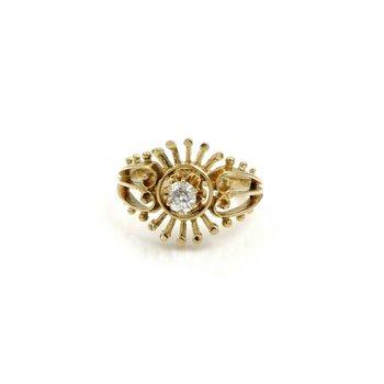 VINTAGE 14K GOLD .23CT OLD MIINE DIAMOND OPEN STARBURST RING SIZE 6.75 #1084B-9