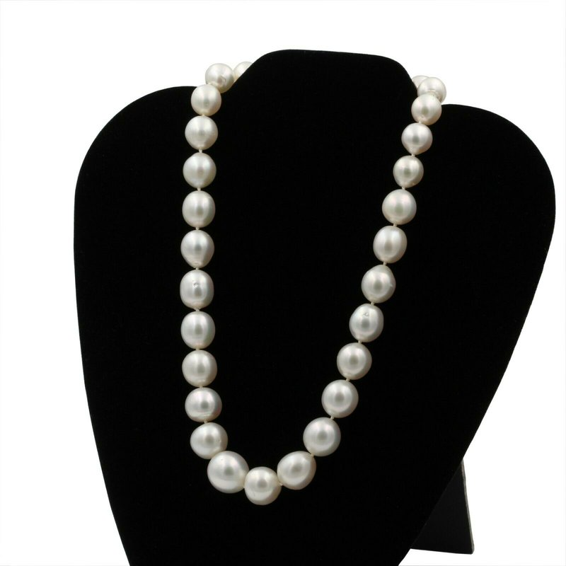 National Rarities EXQUISITE SOUTH SEA PEARL NECKLACE W/ 0.50 CTW DIAMOND CLASP ENHANCER #E0319-62