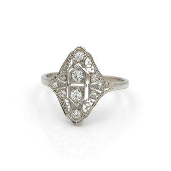 ANTIQUE ART DECO 14K WHITE GOLD OLD EUROPEAN DIAMOND COCKTAIL RING #J2003-3