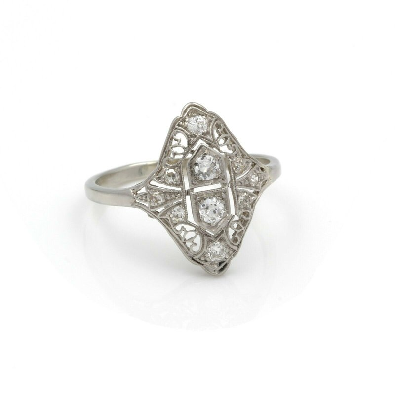 Antique ANTIQUE ART DECO 14K WHITE GOLD OLD EUROPEAN DIAMOND COCKTAIL RING #J2003-3