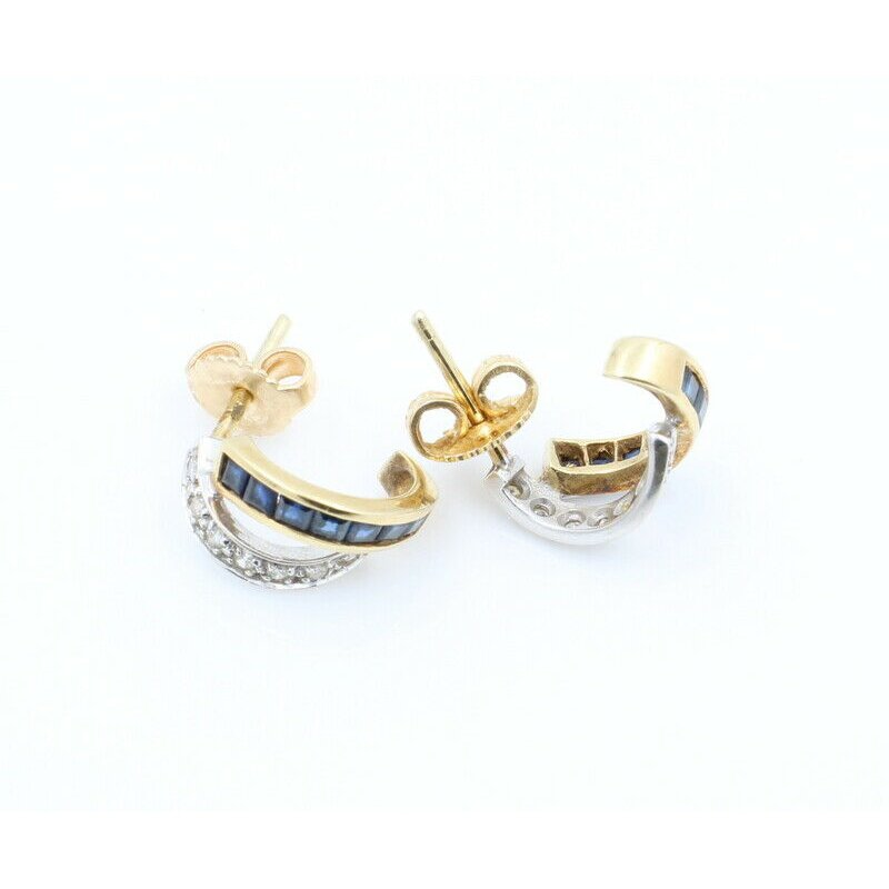 National Rarities 14K SOLID GOLD .84CTW SAPPHIRE & DIAMOND CROSSOVER J HOOP EARRINGS #J7-4