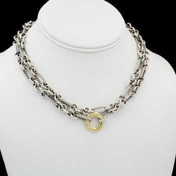 """DAVID YURMAN FIGARO CABLE LINK 18K GOLD & STERLING SILVER NECKLACE 32"""" #D3183-1"""