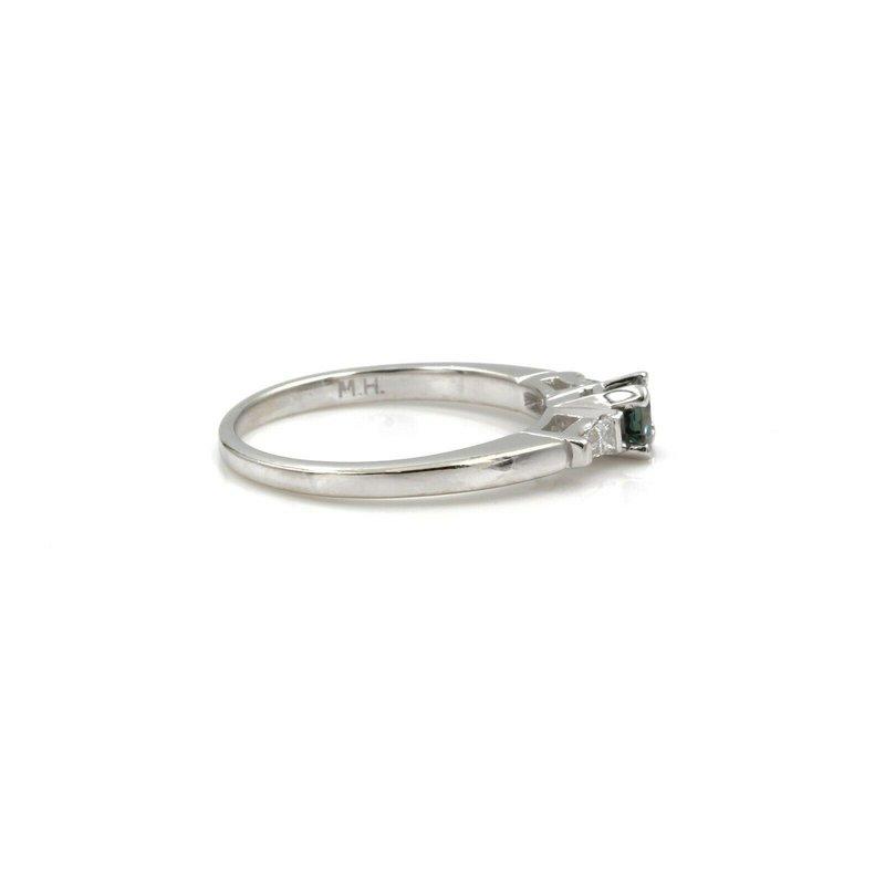 Mh 18K WHITE GOLD NATURAL ALEXANDRITE DIAMOND BAGUETTE RING 0.49CTW SIZE 6 #1110B