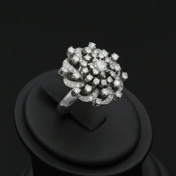 VINTAGE 14K WHITE GOLD 2.00 CTW ROUND DIAMOND STAR GALAXY CLUSTER RING #E0319-59