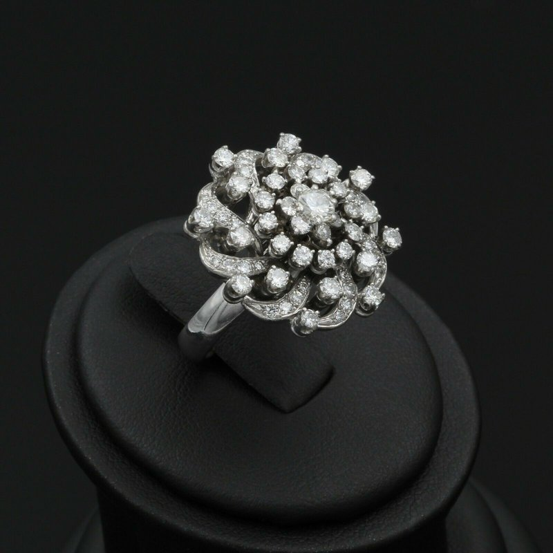National Rarities VINTAGE 14K WHITE GOLD 2.00 CTW ROUND DIAMOND STAR GALAXY CLUSTER RING #E0319-59