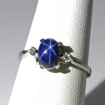 14K WHITE GOLD 2.12 CTW OVAL CABOCHON STAR SAPPHIRE & DIAMOND RING #1016B-5