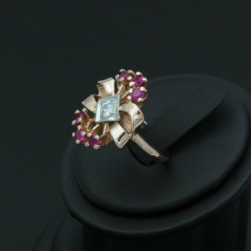 Ruby *ESTATE JEWELRY* VINTAGE 14K ROSE GOLD DIAMOND & RUBY RING NO RESERVE #E-254