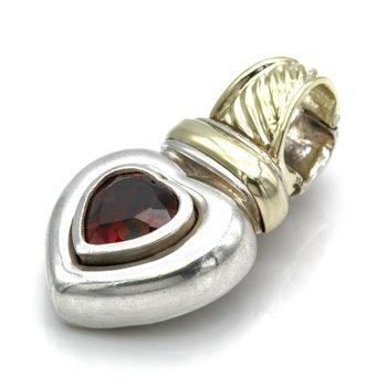 DAVID YURMAN STERLING SILVER 14K GOLD 2.0CT GARNET HEART ENHANCER PENDANT  #D1-3