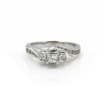 14K WHITE GOLD 1.0 CTW PRINCESS CUT DIAMOND ENGAGEMENT RING SIZE 7.75 #J3094-1