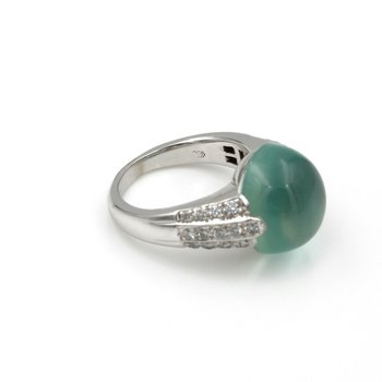 18K WHITE GOLD 10.0 CT PREHNITE CABOCHON AND 0.50 CTW DIAMOND RING #E-133