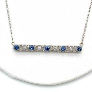 PLATINUM SAPPHIRES & DIAMONDS BAR NECKLACE W/ 14K GOLD CHAIN 1.45 CTW 1105B-2