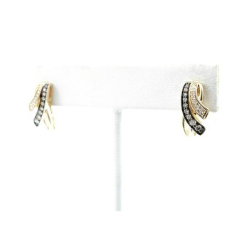 LEVIAN 14K YELLOW GOLD  WHITE & CHOCOLATE DIAMOND CROSSOVER EARRINGS #D32-2