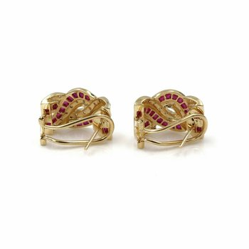 14K YELLOW GOLD 3.04 CTW SQUARE STEP RUBY SINGLE CUT DIAMOND HOOP EARRINGS E-280