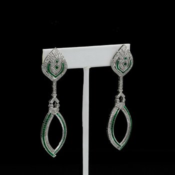 VINTAGE 18K WHITE GOLD ART DECO STYLE 3.94 CTW DIAMOND & EMERALD EARRINGS #E261