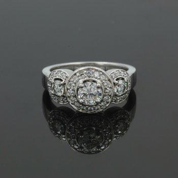 BEAUTIFUL PLATINUM 1.31 CTW ROUND DIAMOND HALO ENGAGEMENT RING SIZE 7 #986B-6