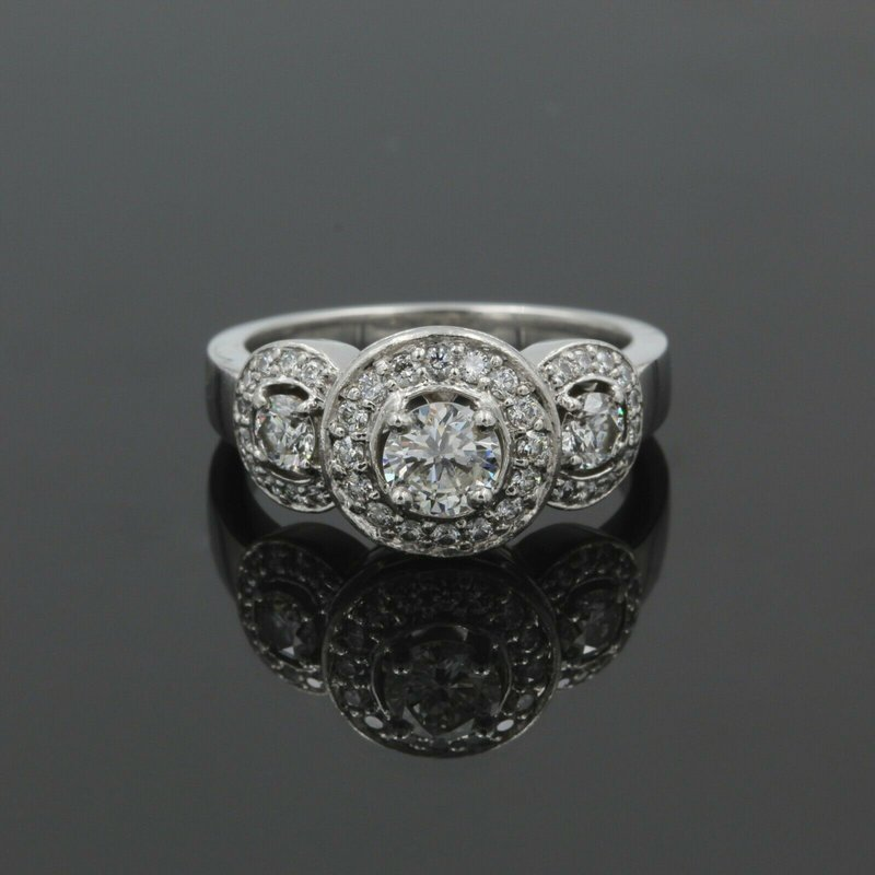 National Rarities BEAUTIFUL PLATINUM 1.31 CTW ROUND DIAMOND HALO ENGAGEMENT RING SIZE 7 #986B-6