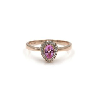 14K ROSE GOLD PEAR SHAPED PINK SAPPHIRE W/ DIAMOND HALO RING SIZE 7 #985B-7