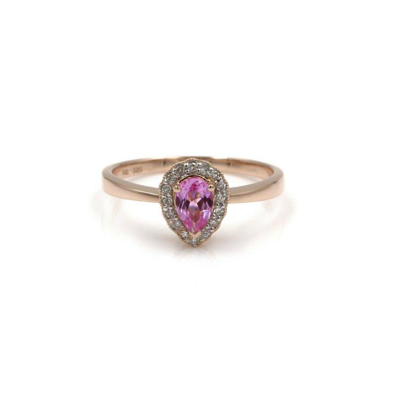 National Rarities 14K ROSE GOLD PEAR SHAPED PINK SAPPHIRE W/ DIAMOND HALO RING SIZE 7 #985B-7