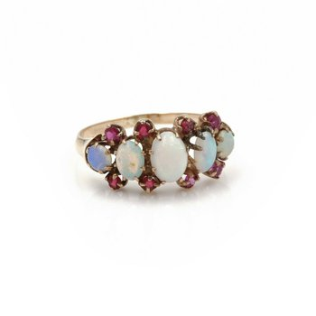 VINTAGE 14K YELLOW GOLD OVAL ROUND OPAL CABOCHON RUBY RING SIZE 5.25 #JB46-9