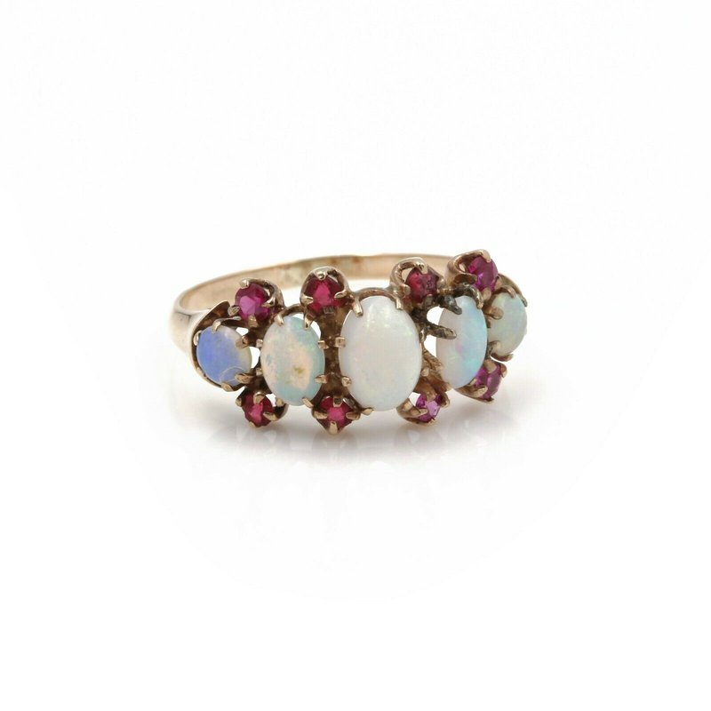 National Rarities VINTAGE 14K YELLOW GOLD OVAL ROUND OPAL CABOCHON RUBY RING SIZE 5.25 #JB46-9