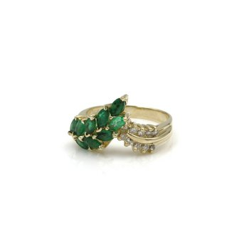14K SOLID GOLD 1.37 CTW EMERALD & DIAMOND BEAUTIFUL VINTAGE RING SIZE 7 #1038B-8