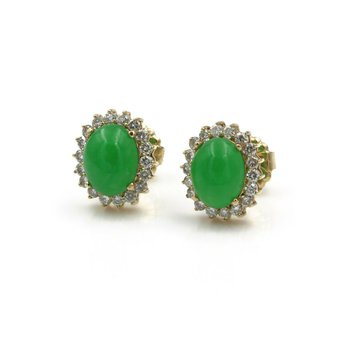 STRIKING 14K GOLD OVAL CABOCHON JADEITE & DIAMOND HALO STUD EARRINGS .75CTW E-95