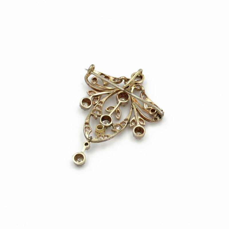 National Rarities VICTORIAN 14K  GOLD AND 1.15 CTW OLD MINE & OLD EURO DIAMOND PIN/ PENDANT #E-138