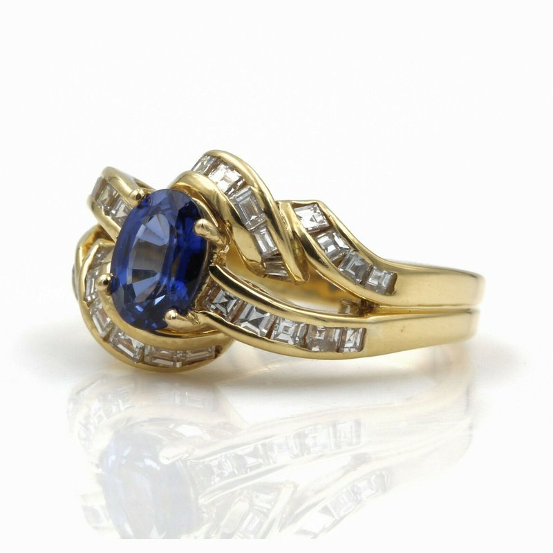 National Rarities 18K YELLOW GOLD 1.66 CTW OVAL SAPPHIRE SQUARE STEP CUT DIAMOND RING SIZE 5 #E160