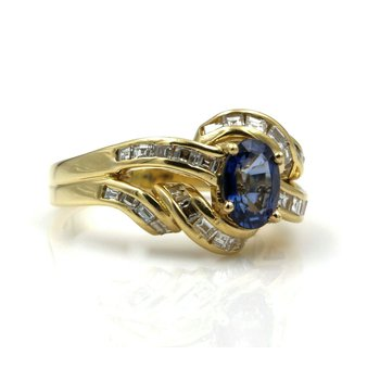 18K YELLOW GOLD 1.66 CTW OVAL SAPPHIRE SQUARE STEP CUT DIAMOND RING SIZE 5 #E160