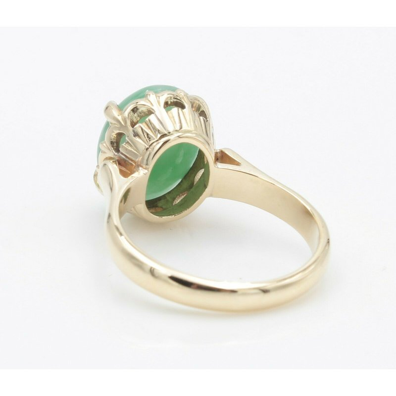 Jade 14K YELLOW GOLD OVAL CABOCHON JADEITE JADE PRONG SET RING SIZE 6 #JB30-1