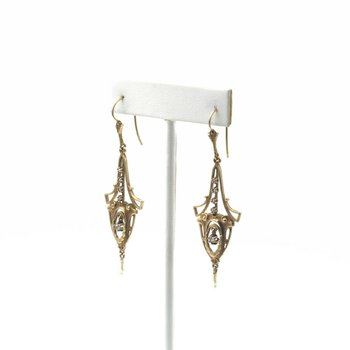 VICTORIAN 14K GOLD, PEARL & ROSE CUT DIAMOND CHANDELIER EARRINGS .10 CTW  E-105