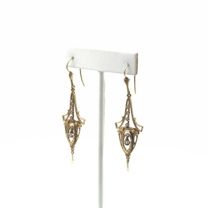 National Rarities VICTORIAN 14K GOLD, PEARL & ROSE CUT DIAMOND CHANDELIER EARRINGS .10 CTW  E-105
