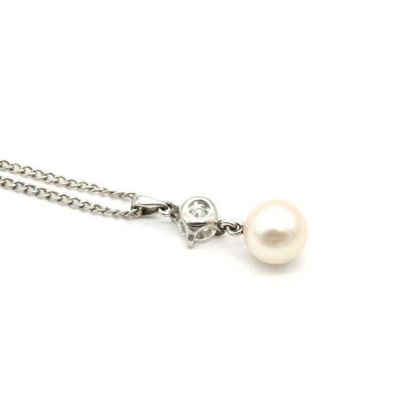 Unbranded VINTAGE CULTURED AKOYA PEARL NECKLACE & OLD EUROPEAN DIAMOND ACCENT 0.25 CT J4-7
