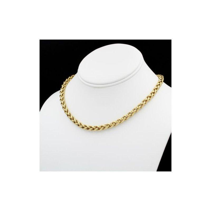 David Yurman 18K YELLOW GOLD DAVID YURMAN WHEAT CHAIN NECKLACE W/ DIAMOND PAVE CLASP 1037B-4