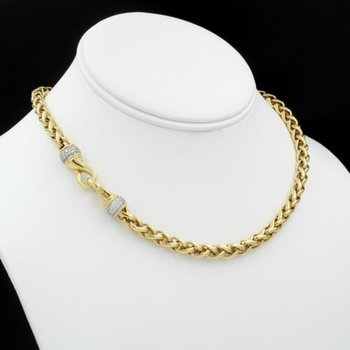 18K YELLOW GOLD DAVID YURMAN WHEAT CHAIN NECKLACE W/ DIAMOND PAVE CLASP 1037B-4