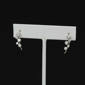 14K WHITE GOLD .64 CTW ROUND DIAMOND BEZEL HOOK DROP ZIGZAG EARRINGS #1005B-2