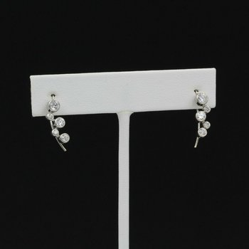 14K WHITE GOLD .64 CTW ROUND DIAMOND BEZEL HOOK DROP ZIGZAG EARRINGS #1005B-2